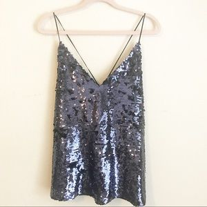Zara Holiday Purple Sequin Cami Tank Top NWT